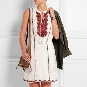 Madewell Dresses - Madewell embroidered tassel red white dress